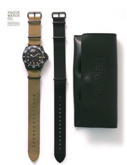 VAGUE WATCH CO 腕時計 ヴァーグウォッチ BLK SUB ブラックサブ 送料無料 ナイロンベルト ブラック オリーブ プレゼントに ミリタリー