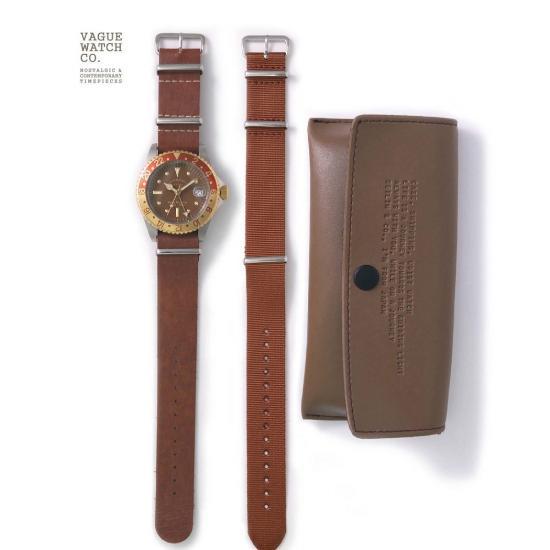 VAGUE WATCH CO 腕時計 ヴァーグウォッチ BRWN GMT 送料無料 レザーベルト ナイロンベルト ブラウン メンズ プレゼントやビジネスシーンに