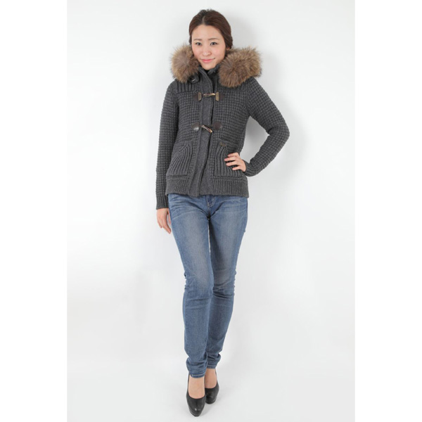 伯克编织物粗呢短大衣女士BarK灰色32BD9000/C 251