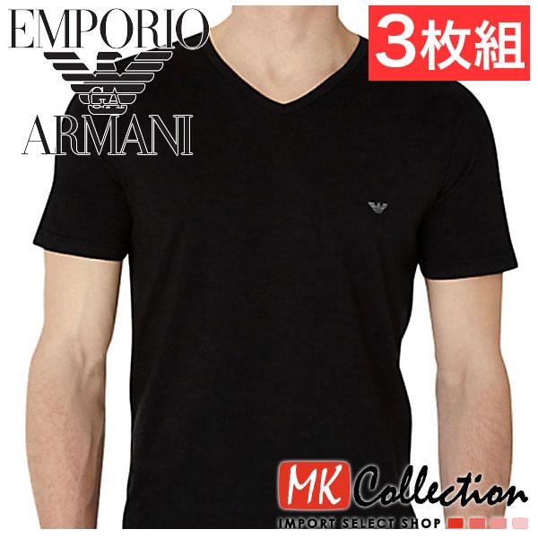 Emporio Armani V Neck T shirt mens EMPORIO ARMANI 3 pairs black 110856 CC712 00020