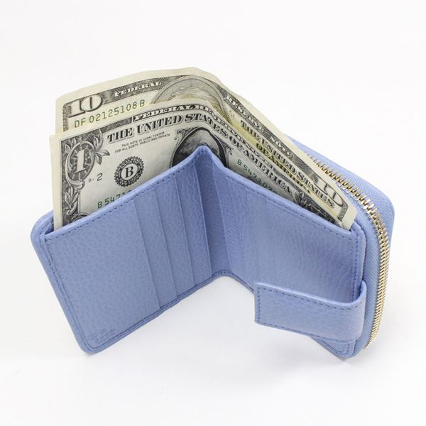 グッチ 二つ折り財布 レディース GUCCI Wallet カーキxライトブルー 346056 KY9LG 8611 【♪】
