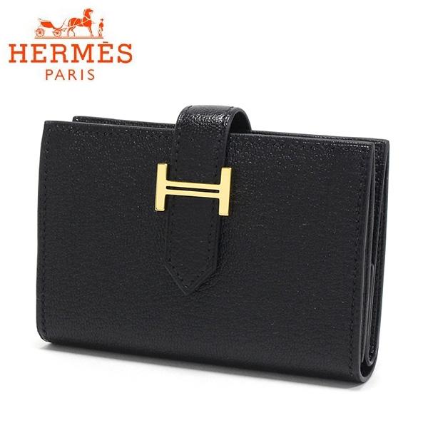 エルメス カードケース メンズ レディース HERMES card case ゴールド金具 ブラック BEARN MINI WALLET BLACK 【送料無料♪】