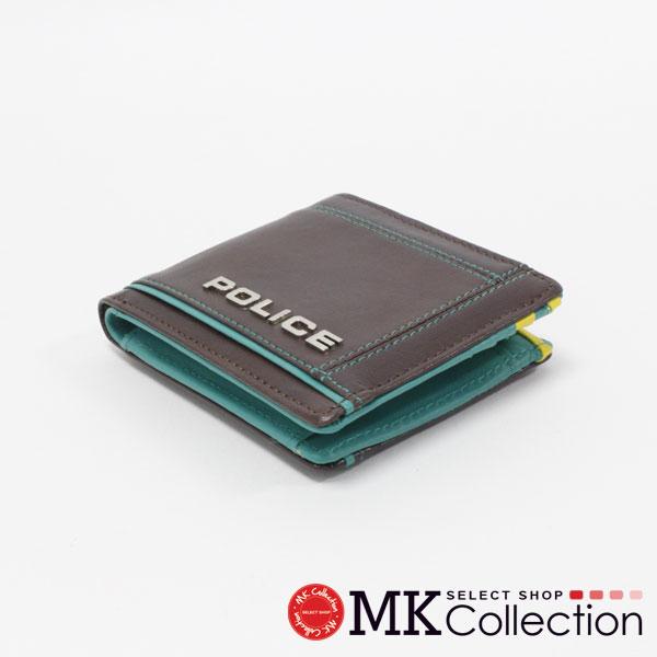 ポリス 二つ折り財布 メンズ 正規品 POLICE Wallet ブラウン×グリーン PA-58400-29