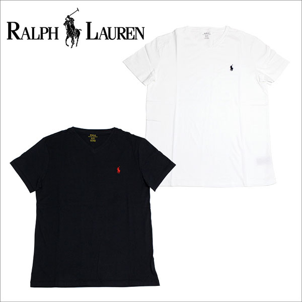 f9d9528d0 Ralph Lauren T-shirt men short sleeves POLO RALPH LAUREN V neck one point  white ...