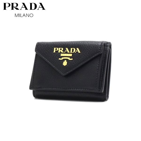 プラダ 三つ折り財布 レディース PRADA Wallet NERO 1MH021 2E3A F0002 【送料無料♪】