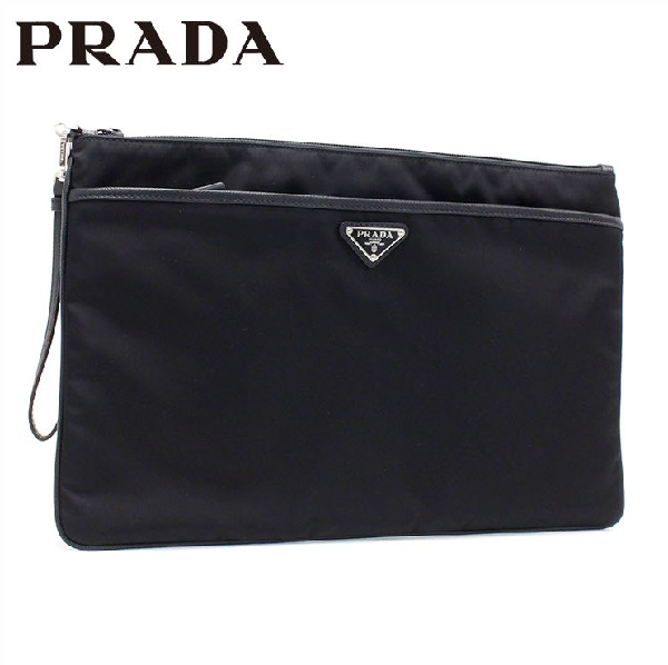 0bb04e26264c MKcollection  Prada clutch bag men PRADA second bag nylon X leather black  2VN012 2E9S F0002