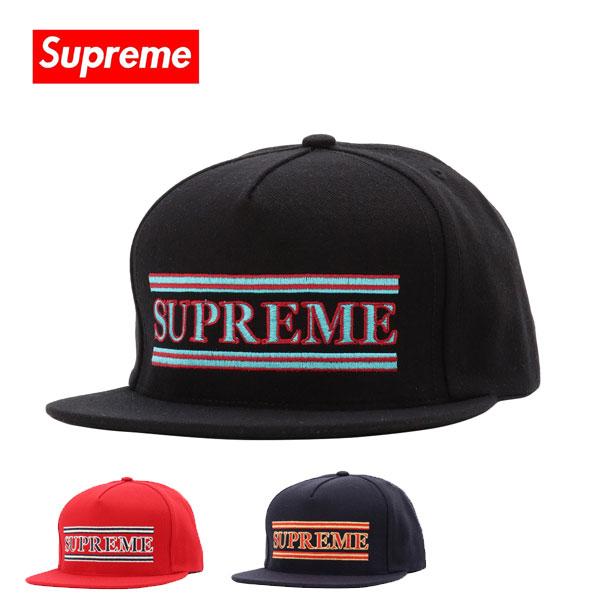 シュプリーム キャップ Supreme 帽子 Striped 5 Panel ブラック レッド ネイビー FW16H25 【当店全品送料無料♪】