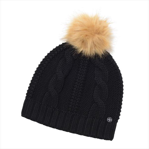 【週末セールポイント5倍!】 トリーバーチ ニット帽 レディース TORY BURCH Knit Cap ブラック 52754 001 【当店全品送料無料♪】