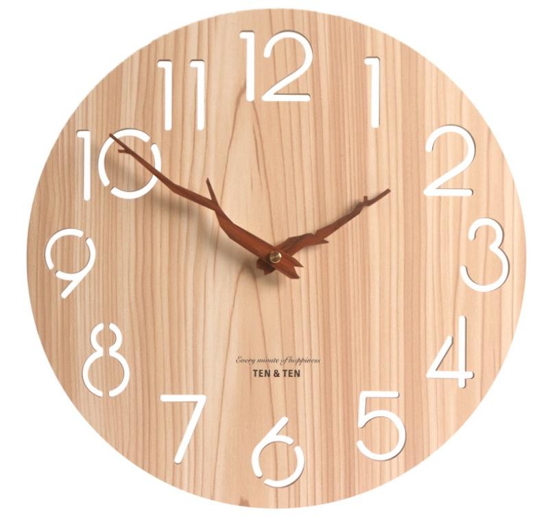 カチカチ音がしない静穏ウォールクロック デザイナーズ時計 寝室 リビング オフィスなどに 壁掛け時計 おしゃれ 掛け時計 木製 連続秒針 ウッド 北欧スタイル 売り込み 木目調 非電波 限定タイムセール 静穏 かわいい