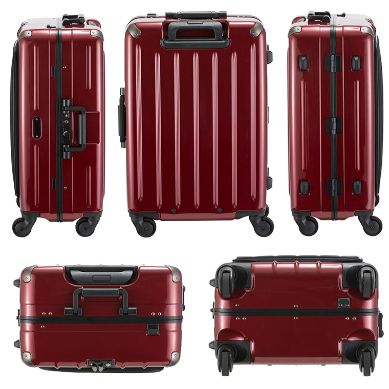 フロントオープン スーツケース Mサイズ フレーム中型 62L 4~6泊フロントポケット付き プラスワン スウィフト 470-60
