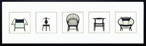 【取寄品】Modern design studio Chair ITH-14043 5連横長額装品 インテリアアートポスター額付