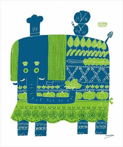 【取寄品】see saw. カフェ風インテリア パネルフレーム 緑のテーブル キャンバス イラストレーター 300×420mm お洒落インテリア通販