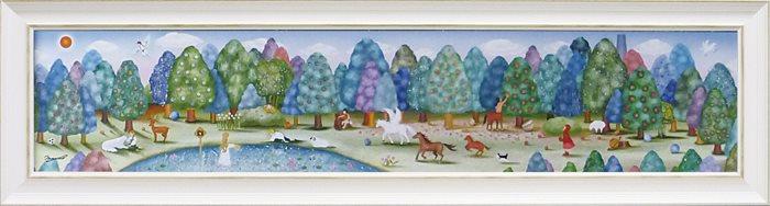 【取寄品】なかの まりの 風景画 額付きポスター とある森の奥から L ユーパワー 33×123cm 和洋折衷
