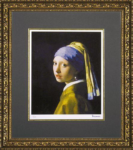 取寄品 ヨハネス フェルメール 青いターバンの少女 額付き ポスター インテリアアート 名画 バロック派