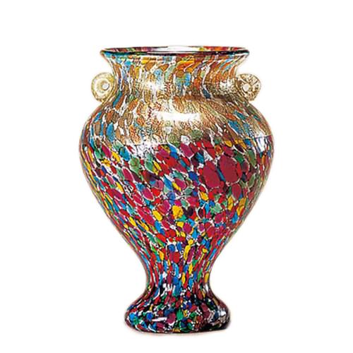 【取寄品】津軽びいどろ フラワーベース 花器 中 ねぶたまつり アデリア 直径18×24cm ガラス花びん ギフト雑貨石塚硝子