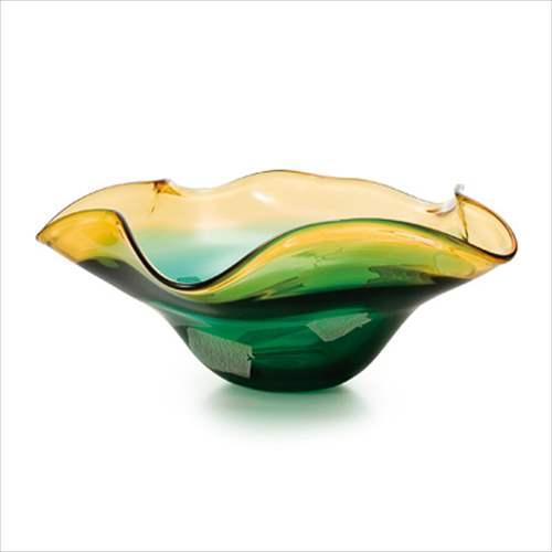 【取寄品】津軽びいどろ フラワーベース 水盤GR F-77688 アデリア 直径37×14.5cm ガラス花器 ギフト雑貨石塚硝子