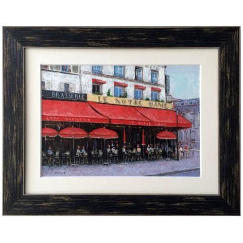 Oil Painting ART パリのカフェ ノートルダム Kazu Ishikawa インテリア アート 美工社 壁掛け 額付き 油絵 取寄品 マシュマロポップ