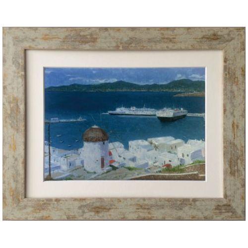 Oil Painting ART ミコノス島 Kazu Ishikawa インテリア アート 美工社 壁掛け 額付き 油絵 取寄品 マシュマロポップ