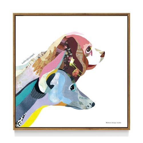 【アートポスター フレーム 付】 kaho HOSOKAWA Dog 犬 インテリア パネル いぬ雑貨 デザイン 50×50cm 美工社 お洒落額付 絵画通販【取寄品】マシュマロポップ【ママ割】【ママ割】Wエントリーで全品ポイント7倍 7/10朝10時まで