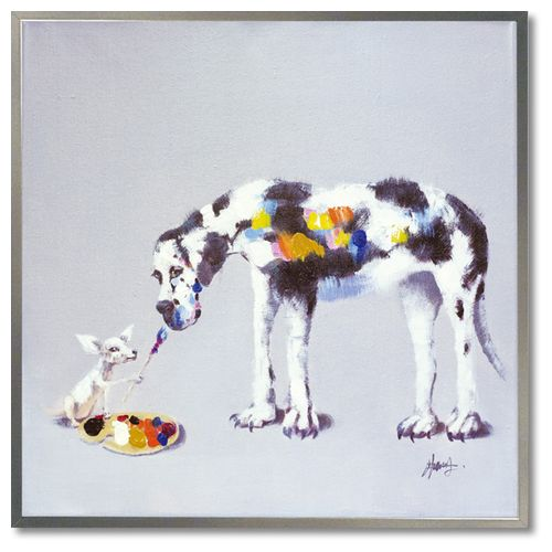 【オイル ペイント アート】 ドッグペインティング L アートポスター 額付 動物画 ユーパワー 83×83cm 特大配送 可愛い 犬 インテリアグッズ通販【取寄品】マシュマロポップ
