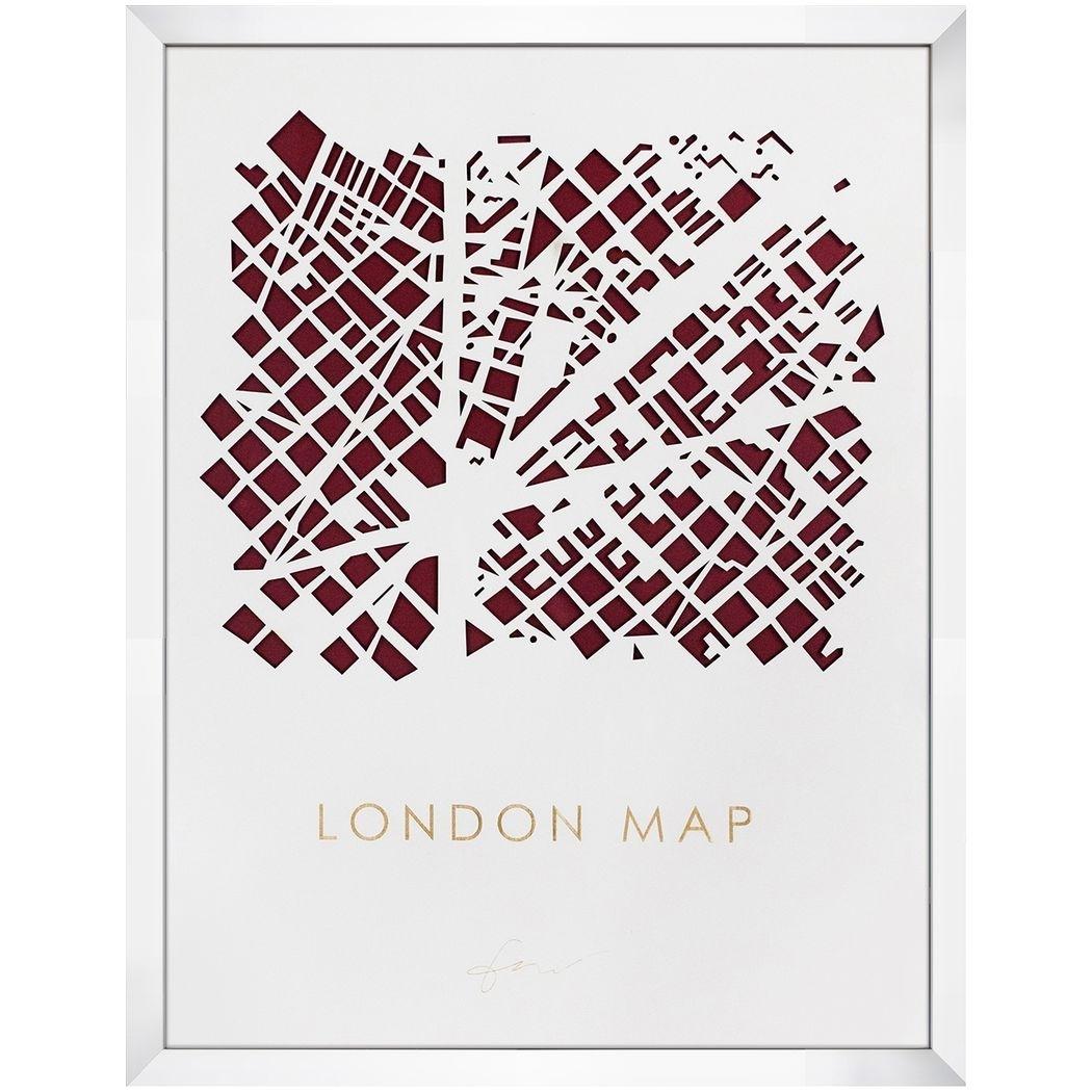 【3D MAP ART】 ロンドン デザイナーズアート インテリア パネル 美工社 70×90×5cm 立体 地図 額付きインテリア雑貨通販【取寄品】マシュマロポップ