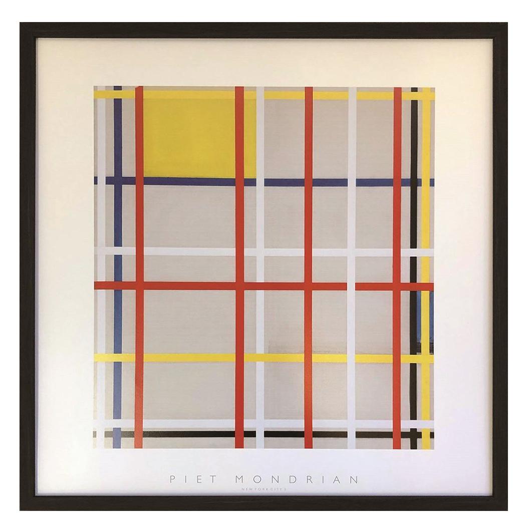 Piet Mondrian New York City 3 ピエト モンドリアン インテリア パネル 美工社 額装品 ギフト 装飾インテリア 取寄品 マシュマロポップ