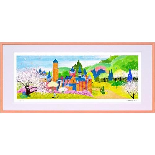 はり たつお 春のレーベンブルク城とりんごの木(L) はり たつお 風景画 美工社 額装品 ギフト 装飾インテリア 取寄品 マシュマロポップ
