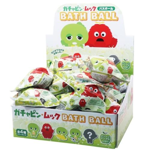 マスコット が飛び出る 入浴剤 ポンキッキーズ バスボール 24個入BOX ガチャピン ムック グリーンアップルの香り おもちゃ 子供とお風呂 エスケイジャパンまとめ買いグッズマシュマロポップ