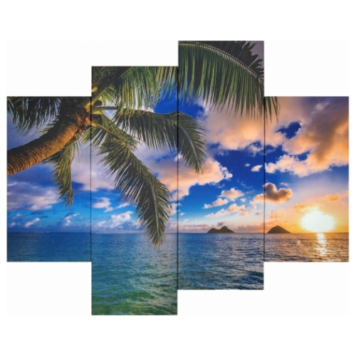 Bello Canvas Art Beautiful Lanikai 4枚セット キャンバスアート 写真 アート 美工社 IPT-61745 ×2枚 30×90×2枚 フレームレスインテリア 取寄品 マシュマロポップ