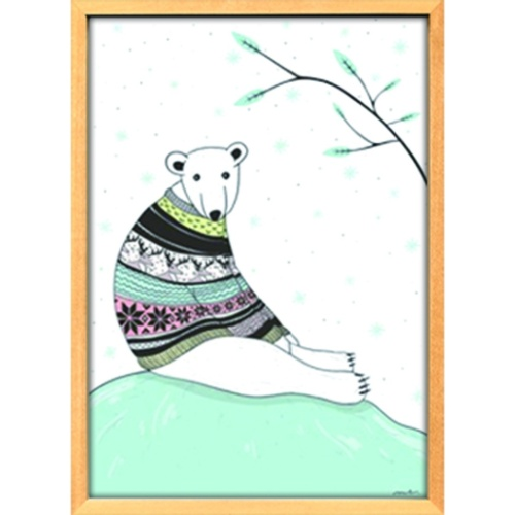 Scandinavian Art シロクマ ブルー スカンジナビアンアート 額装品 美工社 ZLS-52678 北欧 額付き インテリア 取寄品 マシュマロポップ