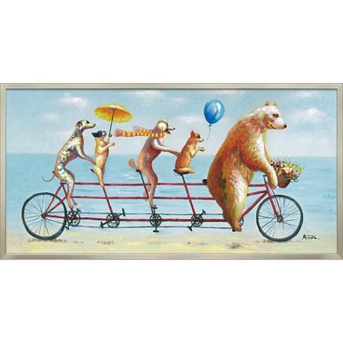 アニマル サイクリング OP-22029 オイルペイントアート 動物画 103x53cm 油絵 額付き 犬 クマ かわいいインテリア 取寄品 マシュマロポップ