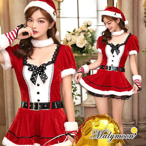 (あす楽)レディース ワンピース クリスマス 衣装 サンタ 衣装 サンタ コスプレ かわいい セクシー サンタ レッド 赤 フリーサイズ クリスマス コスチューム Rudegirl malymoon マリームーン【7576】