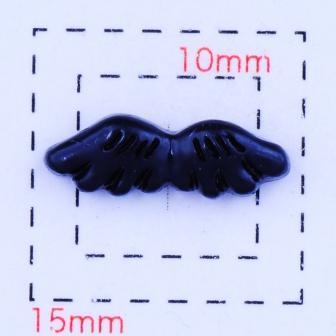 天使の羽 希少 エンジェル デコ電用プラパーツ》ブラック6個 14×5ミリ《ネイル モデル着用&注目アイテム