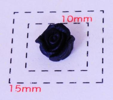樹脂製ローズフラワー6~7ミリ《ネイル 情熱セール デコ電用プラパーツ》ブラック5個入 タイムセール
