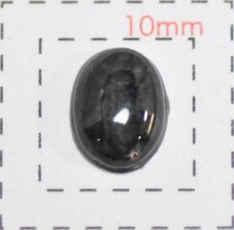 クラシカル クラックネイルストーン《オーバル・楕円形半球》6×8ミリBK 10個入