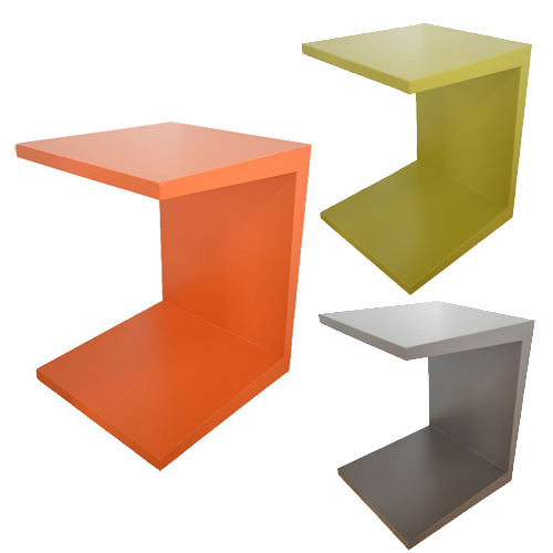 サイドテーブルMDF【mmisオリジナルコの字型サイドテーブル全3色鏡面