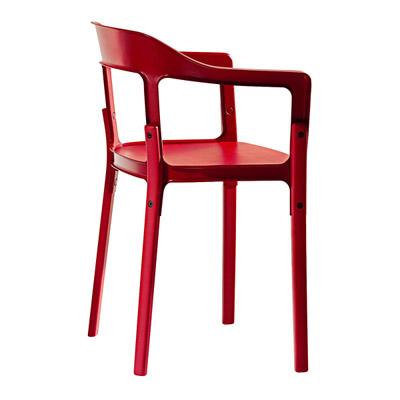 ダイニングチェア【Steelwood chair スチールウッドチェア レッドSD740】「R&EB」 失敗しないインテリア 年末インテリア