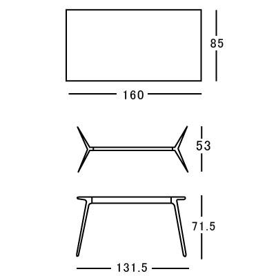 デスク ダイニングテーブル マジス【Baguette】バゲット ホワイト/ブラック 160×85サイズ〔TV1704-22〕「R&EB」  おしゃれなインテリアの作り方 アウトドアリビングが気持ちいい