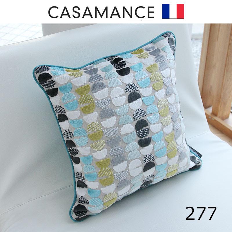 NO.277フランス製生地 日本で縫製フェザーパイピングクッション カサマンス 40x40cm新春クッション開運  おしゃれなインテリアの作り方 アウトドアリビングが気持ちいい