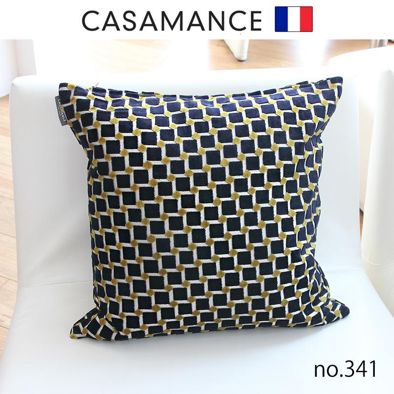 NO.341フランス製生地 日本で縫製フェザーパイピングクッション カサマンス 50x50cmおしゃれなインテリアの作り方 アウトドアリビングが気持ちいい