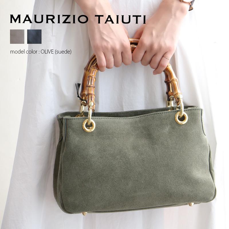 m【SALE対象外】【送料無料】MAURIZIO TAIUTI マウリツィオタユーティ バンブーハンドルバッグ B13803B