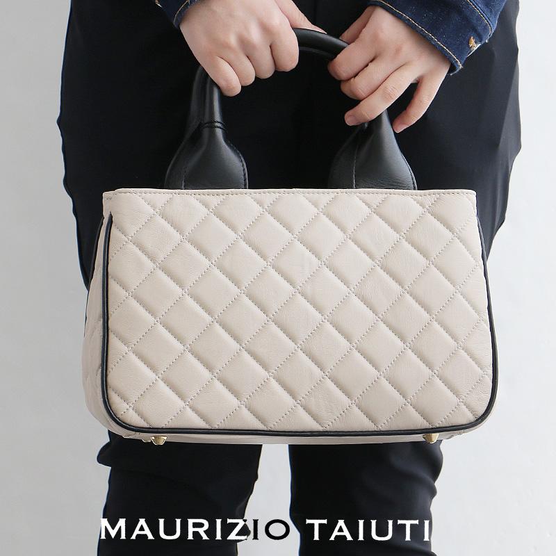 m【2019SS】【送料無料】MAURIZIO TAIUTI マウリツィオタユーティ ナッパレザーハンドバッグ B13803