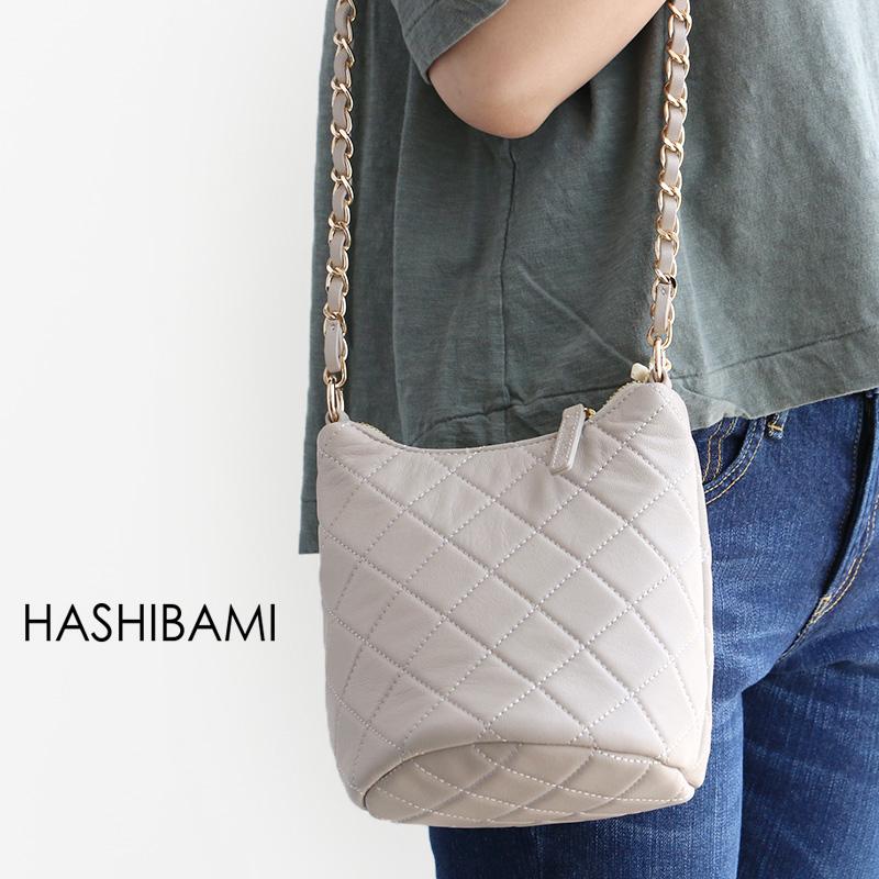 m【SALE対象外】【送料無料】Hashibami ハシバミ キルティングチェーンミニバッグ Ha-1802-806