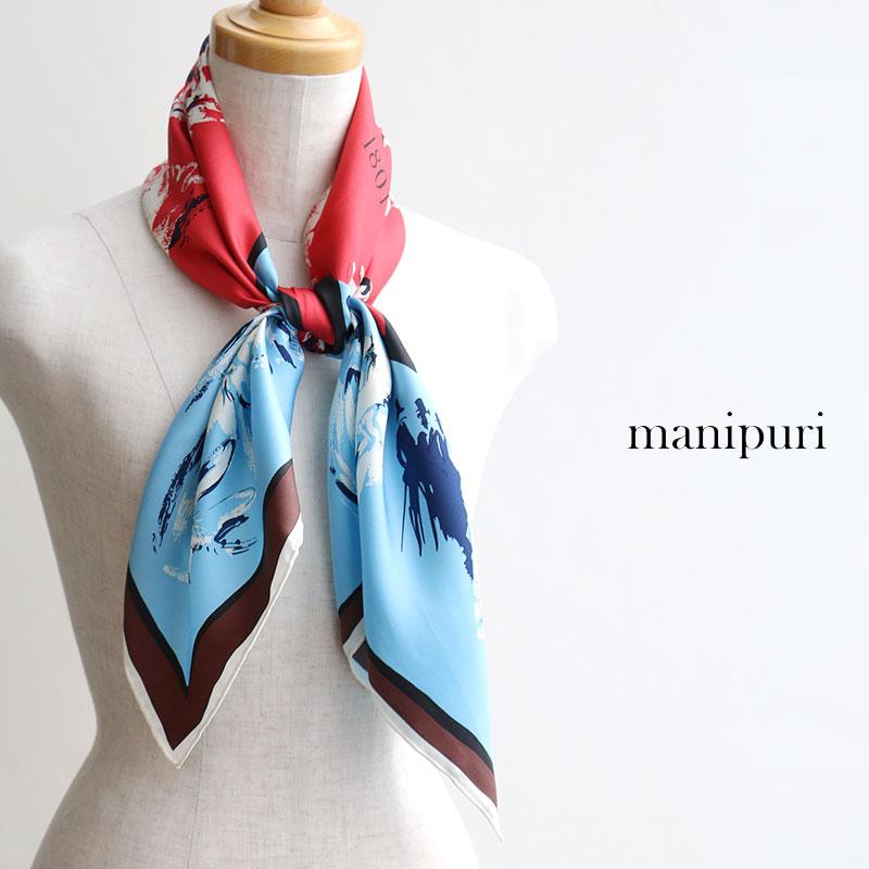 m【SALE対象外】【送料無料】manipuri マニプリ 88cmシルクスカーフ 88*88