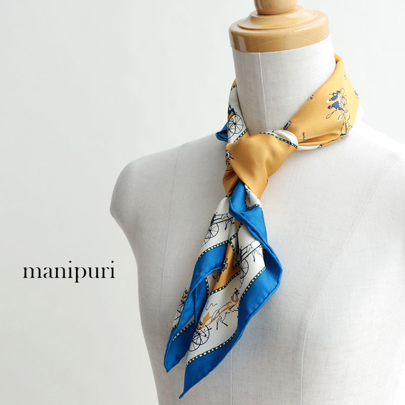 m【SALE対象外】【2018SS】【送料無料】manipuri マニプリ 65cmシルクスカーフ 65*65