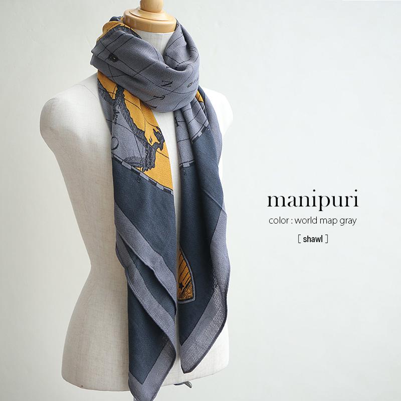o【SALE対象外】【2018AW】【送料無料】manipuri マニプリ シルクウールスカーフ shawl