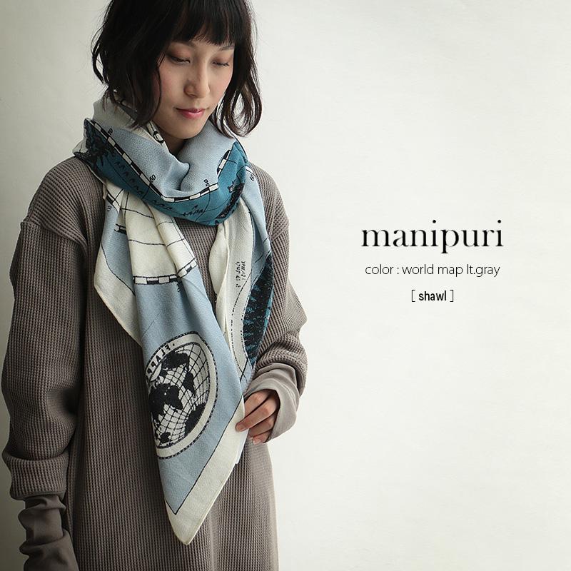 m【SALE対象外】【2018AW】【送料無料】manipuri マニプリ シルクウールスカーフ shawl