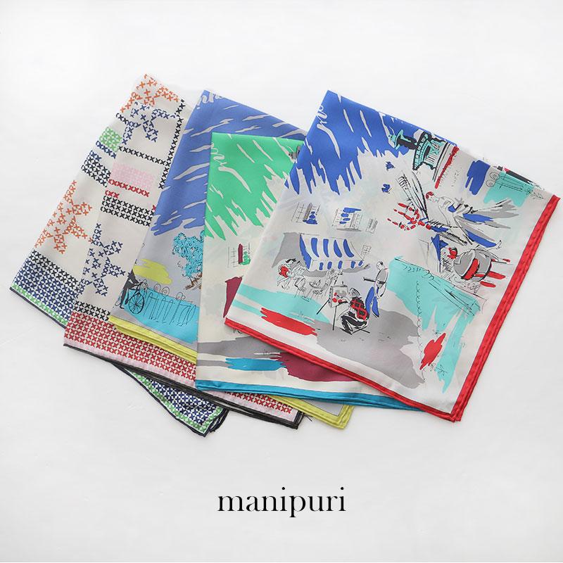 【10%★OFF】manipuri マニプリ 65×65 シルクスカーフ 65*65(STITCH/BALLET)