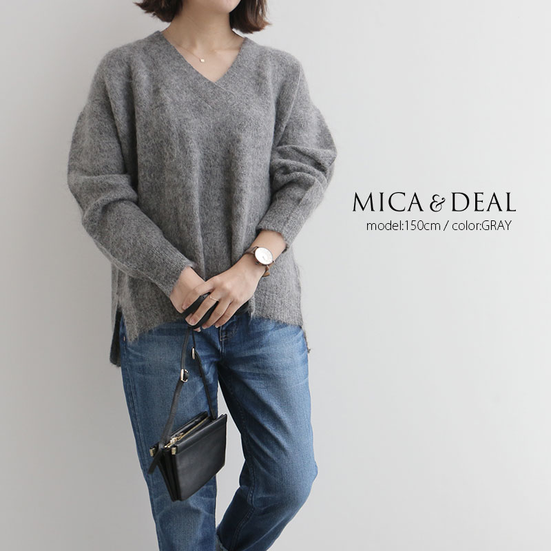 【50%★OFF】MICA&DEAL×MMN【別注アイテム】 マイカアンドディール モヘアアルパカVネックニット M17D201