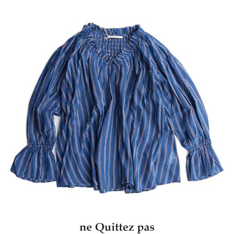 m【送料無料】ne Quittez pas ヌキテパ コットンボイル ストライプVネックトップス 010182302